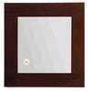 Antonio Miro Ebony Mirror, Iroko Wood Frame, Built-in Clock
