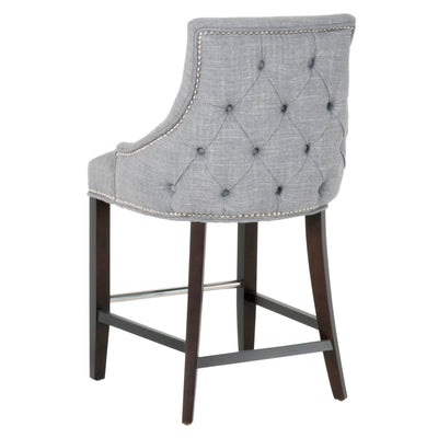 ALFREDA COUNTER STOOL SMOKE FABRIC, ESPRESSO,