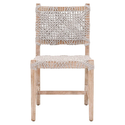 Andriani dining chair Taupe & White Flat Rope set of 2