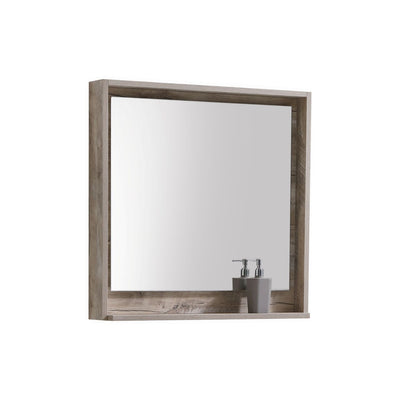 "Bosco 30"" Framed Mirror With Shelve - Nature Wood Finish"