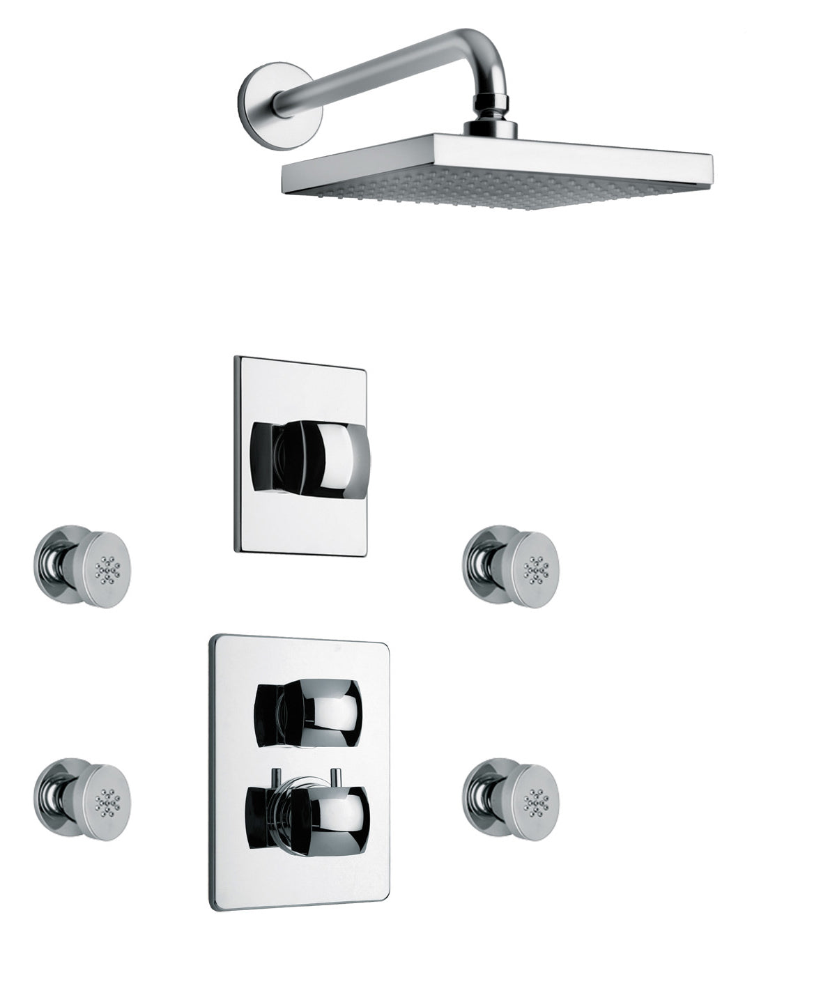 Lady Thermostatic Shower With 3 4 Ceramic Disc Volume Control 3 Way Diverter And 4 Body Jets In Chrome