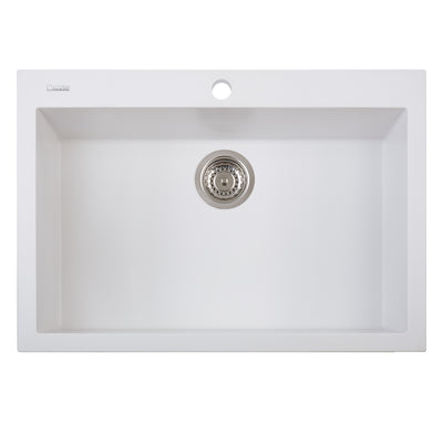 "LaToscana Plados 30"" x 20"" Single Basin Granite Drop-In Sink in a Titanium Finish"