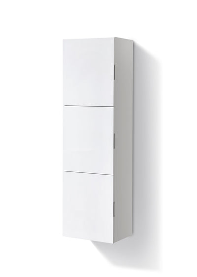 "Bliss 18"" Wide by 59"" High Linen Side Cabinet With Three Doors in Gloss White Finish"