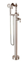 Ornellaia free-standing floor-mounted tub filler with 2.0 GPM hand shower in Brushed Nickel