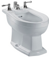TOTO® Clayton® Deck Mount Vertical Spray Flushing Rim Bidet, Cotton White - BT784B#01