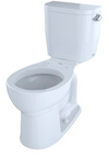 TOTO® Entrada™ Two-Piece Round 1.28 GPF Universal Height Toilet with Right-Hand Trip Lever, Cotton White - CST243EFR#01