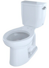 TOTO® Entrada™ Two-Piece Elongated 1.28 GPF Universal Height Toilet with Right-Hand Trip Lever, Cotton White - CST244EFR#01