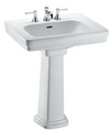 "TOTO® Promenade® 27-1/2"" x 22-1/4"" Rectangular Pedestal Bathroom Sink for 4 inch Center Faucets, Cotton White - LPT530.4N#01"