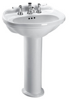 TOTO® Whitney® Oval Pedestal Bathroom Sink for 4 Inch Center Faucets, Cotton White - LPT754.4#01