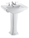 TOTO® Clayton® Rectangular Pedestal Bathroom Sink for 4 Inch Center Faucets, Cotton White - LPT780.4#01