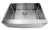 Nantucket Sinks' Apron302010SR-16 - 30 Inch Pro Series Single Bowl Farmhouse Apron Front Stainless Steel Kitchen Sink
