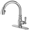 Latasacan Old-Fashioned single handle pull-down spray kitchen faucet in Chrome