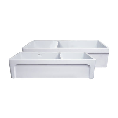 ANDY Farmhaus Fireclay Large Reversible Sink and Small Bowl White