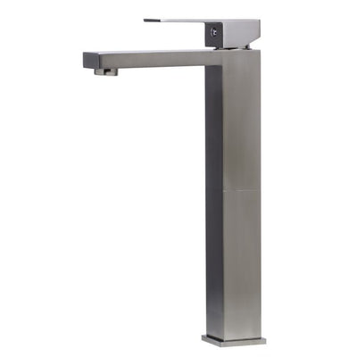 Christian  Single Lever Tall Square Bathroom Faucet Polished/Brushed