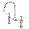 Barclay Harding Kitchen Bridge Faucet with Porcelain Lever Handles