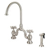 Barclay Banner Kitchen Bridge Faucet with Metal Cross Handles