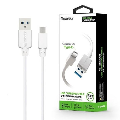 Esoulk Cable Type-C 5.0 Ft, 3A White EC30P-TCP-WH