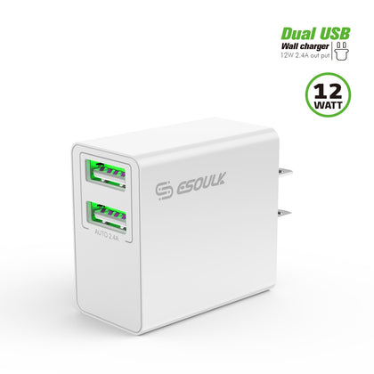 Esoulk Wall Charger 12W, 2.4A with Dual USB EA10P-WH: White