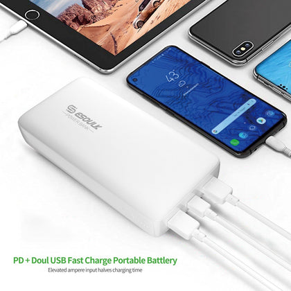 Esoulk Power Bank 54W 22000mAh PD & Dual Fast Charge USB Power Bank White EP04P-WH - Best Cell Phone Parts Distributor in Canada