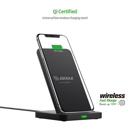 Esoulk QI 10W Wireless Desktop Double coil Wireless Fast Charger EW03PBK - Best Cell Phone Parts Distributor in Canada