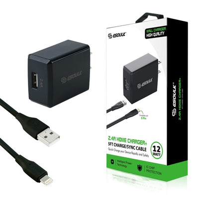 Esoulk Wall Charger 12W, 2.4A  with 3 Ft Cable Lightning, EC08P-IP-BK - Cell Phone Parts Canada