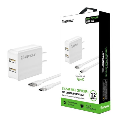 Esoulk Dual USB Wall Charger 12W, 2.4A with 5Ft USB Type-C Cable White, EC44P-TCP-WH - Best Cell Phone Parts Distributor in Canada