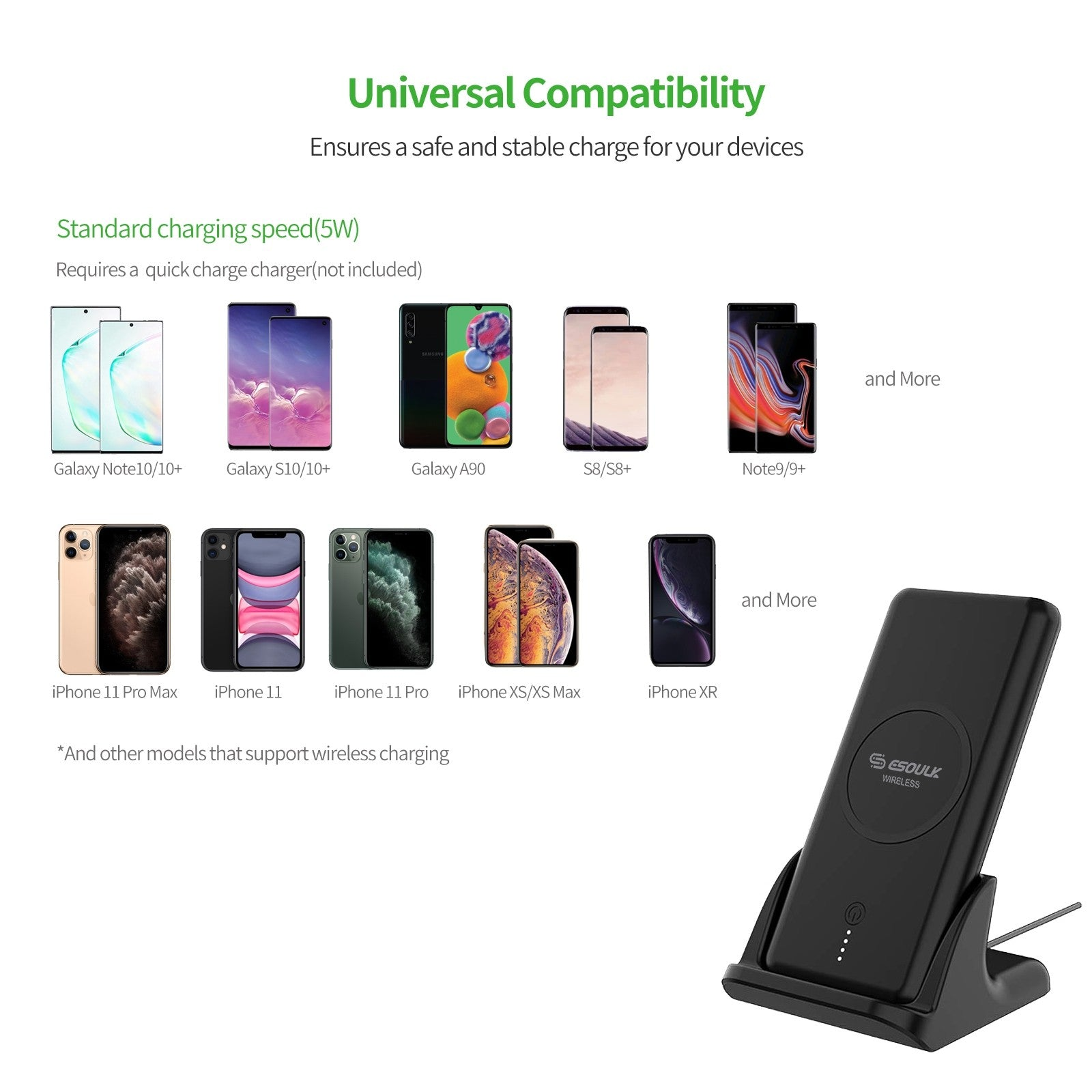 Esoulk Vertical Wireless Charger+Power Bank 10000mAh With Charging Dock And 4ft Cable Black EP05PBK
