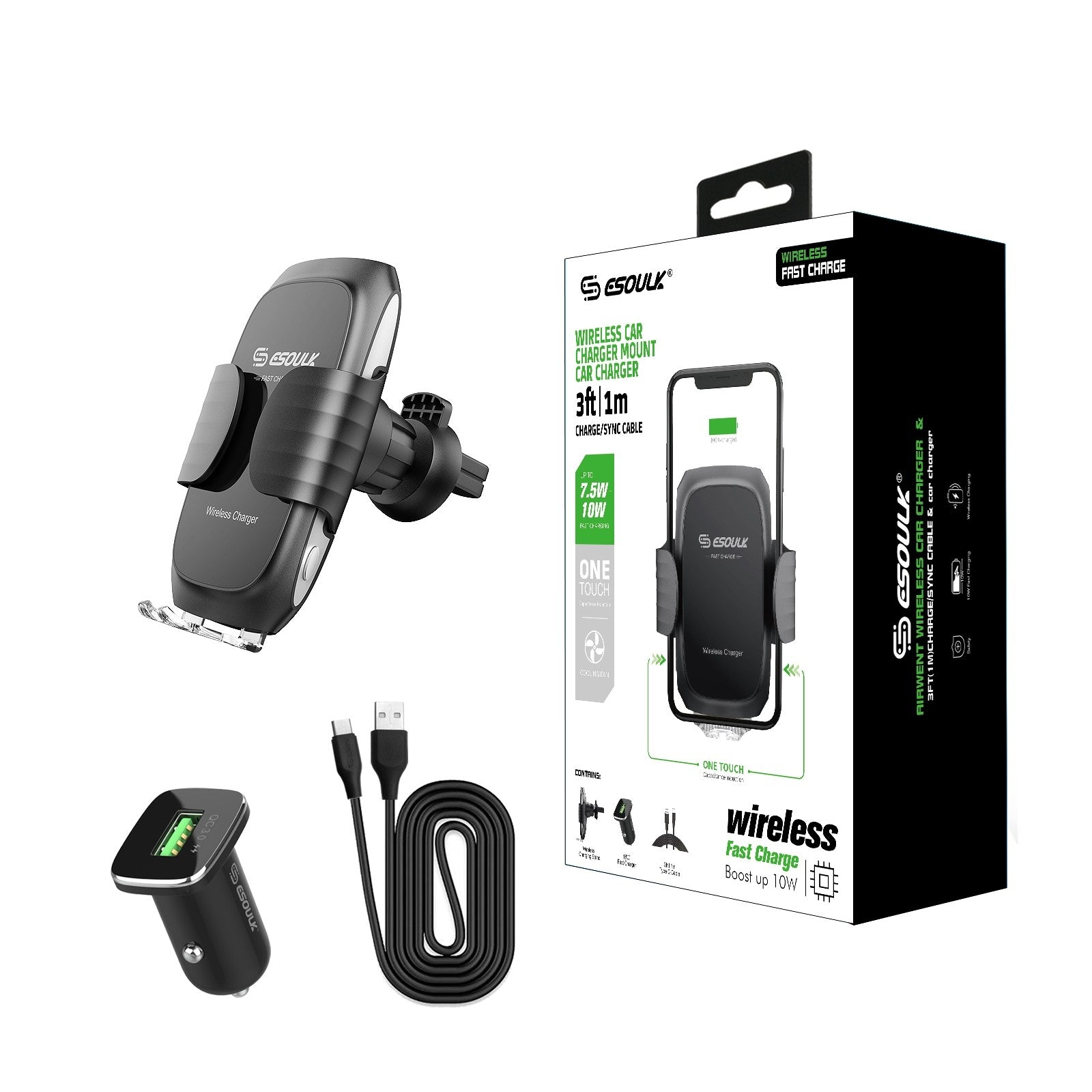 Esoulk Wireless Fast Charging  10W Air Vent Car Mount Black EW04PBK