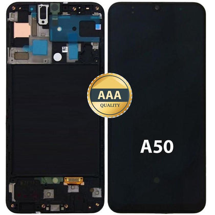 Replacement Samsung A50 LCD & Digitizer with Frame Black (AAA Quality) Black - Best Cell Phone Parts Distributor in Canada