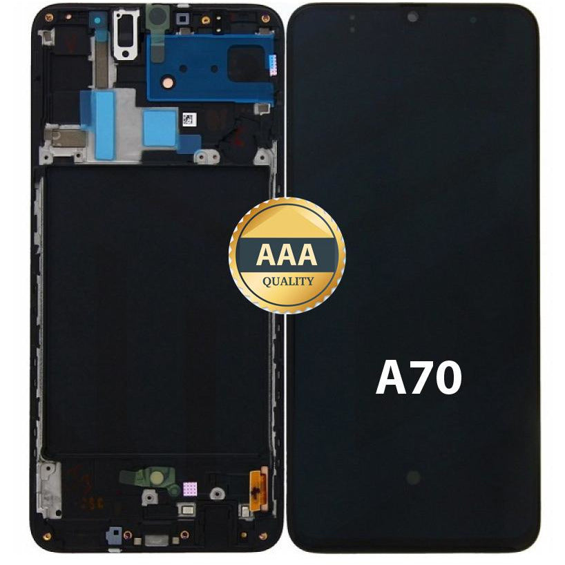 LCD & Digitizer Black for Samsung A70 (A705W) with Frame (AAA Quality) Black