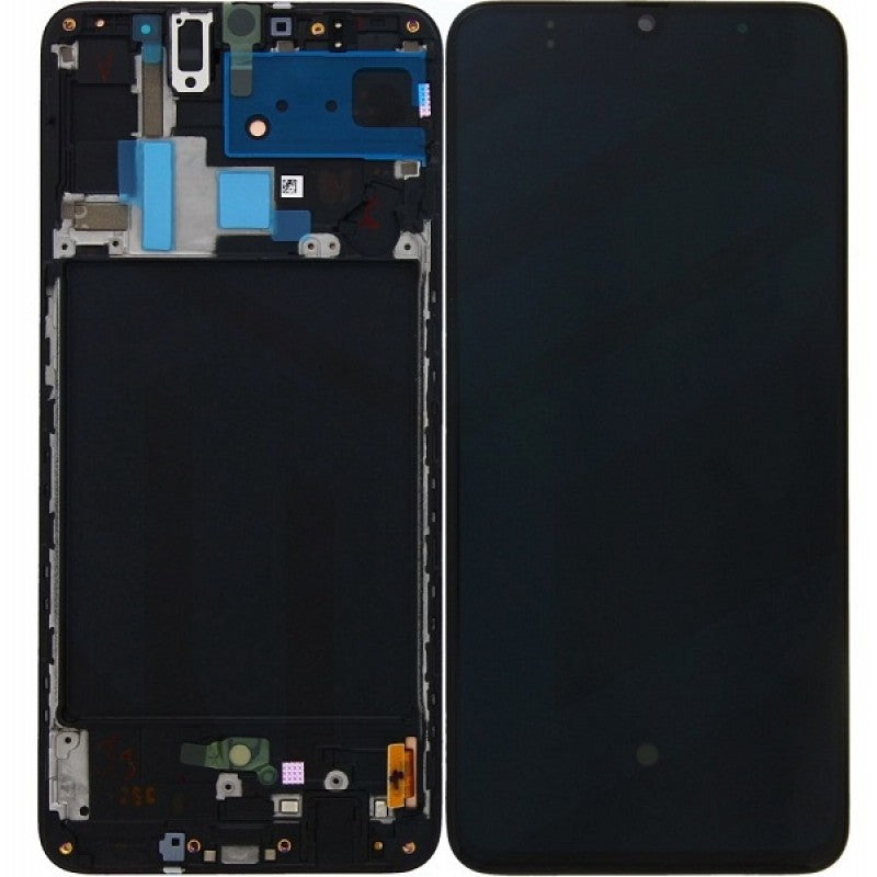 Replacement LCD & Digitizer Screen for Samsung A70 with Frame Black (A705W)