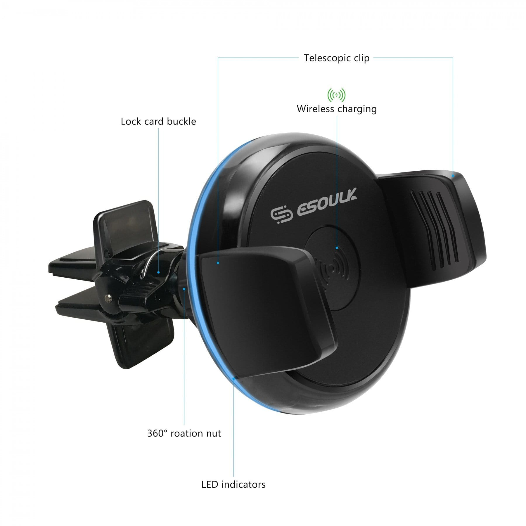 Esoulk Wireless Charger 5Watt Car Air Vent Holder EH31P