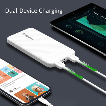 Esoulk Power Bank 10000mAh 2A Dual USB White EP06P-WH - Best Cell Phone Parts Distributor in Canada