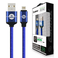 Esoulk Lightning USB Cable 5FT 2A Nylon Braided Blue - Cell Phone Parts Canada