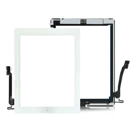 iPad 4 (A1458) Digitizer Black with H Button & Adhesive White