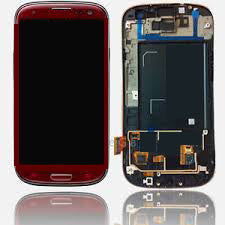 Samsung S3 i747 LCD with Digitizer and Frame Red