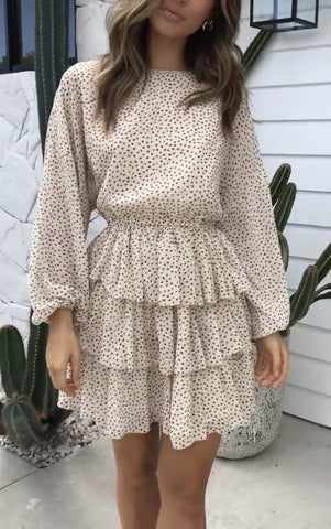 Dotted Beige Crush Dress