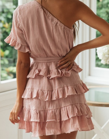 One Shoulder Pink Ruffle Dress