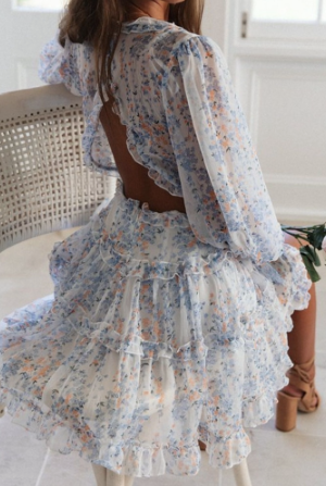 Emma Flower Ruffle Dress