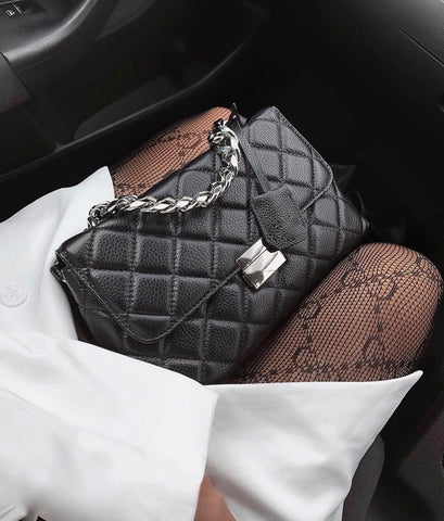 Clara Black Double Chain Bag