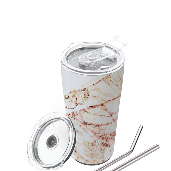 Travel Tumbler | 20 oz | Gold Marble