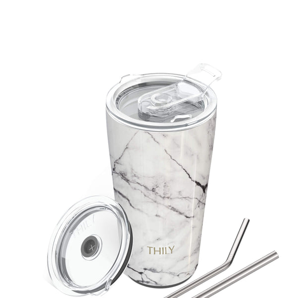 Travel Tumbler | 20 oz | White Marble