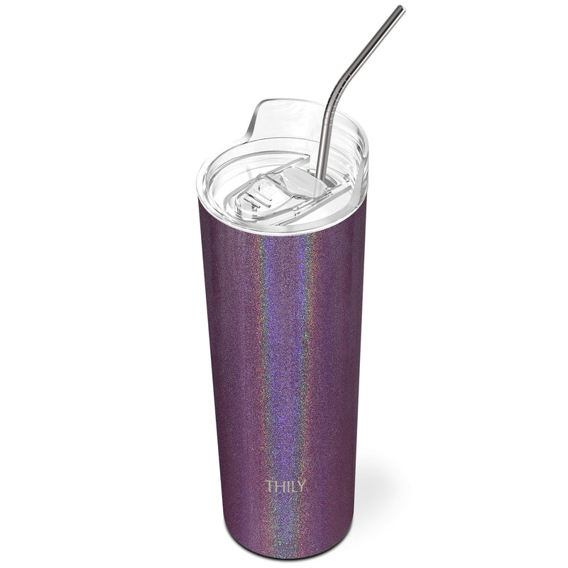 THILY_skinny_tumbler_22_oz_lid_straw_glitter_red_brown