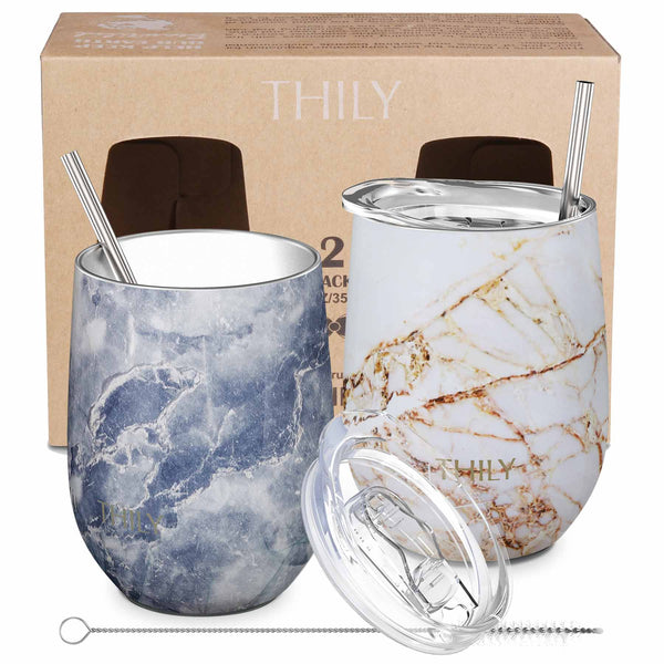 THILY_wine_tumbler_lid_straw_2_pack_bulue_marble_gold_marble_gift_box