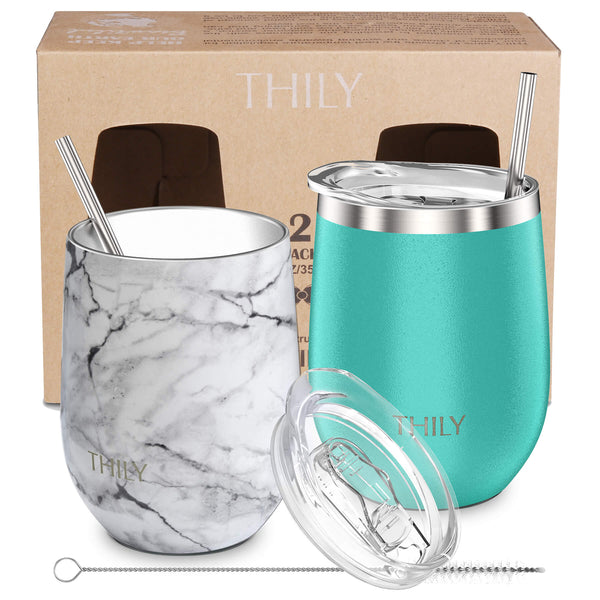 THILY_wine_tumbler_lid_straw_2_pack_marble_teal_gift_box