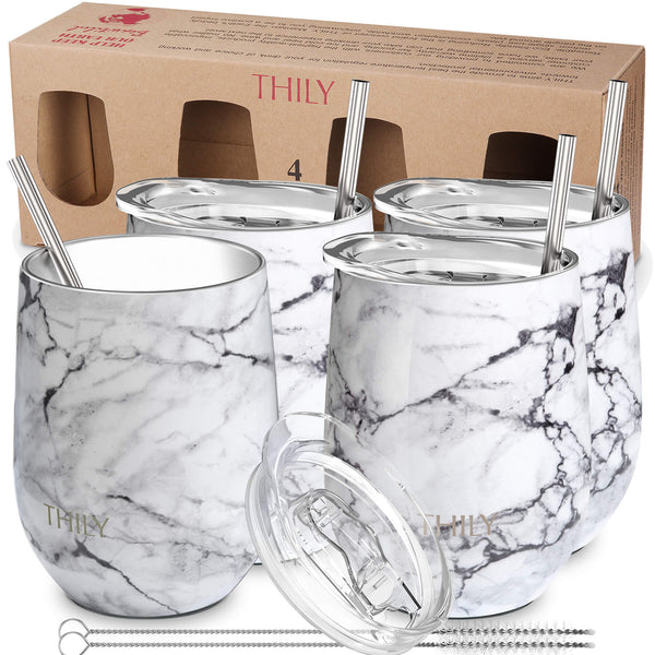 THILY_wine_tumbler_lid_straw_4_pack_gift_box_white_marble