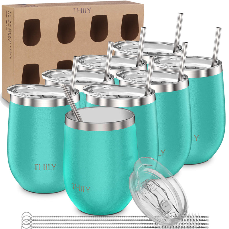 THILY_wine_tumbler_lid_straw_8_pack_gift_box_teal