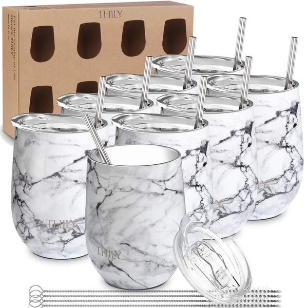 THILY_wine_tumbler_lid_straw_8_pack_gift_box_white_marble