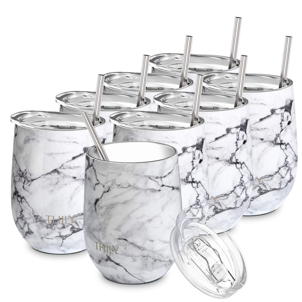 THILY_wine_tumbler_lid_straw_8_pack_white_marble