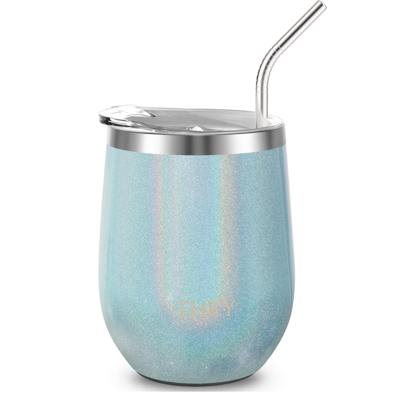 Wine Tumbler - Glitter Light Blue